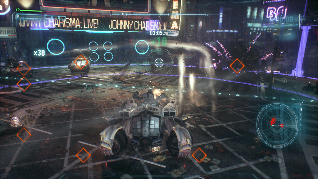 "Batman's Batmobile in Tank Mode does ferocious damage to the unmanned drones that lurk the city streets. It offers great gameplay verity(Rocksteady's MO) But it doesn't quite feel ""Batmany"" enough compared to the rest of the game"